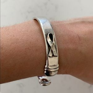 Vintage Until There's A Cure silver cuff bracelet